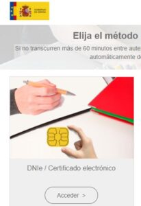 """Enlace a """"acceder"""" dentro de """"certificado electrónico""""."""