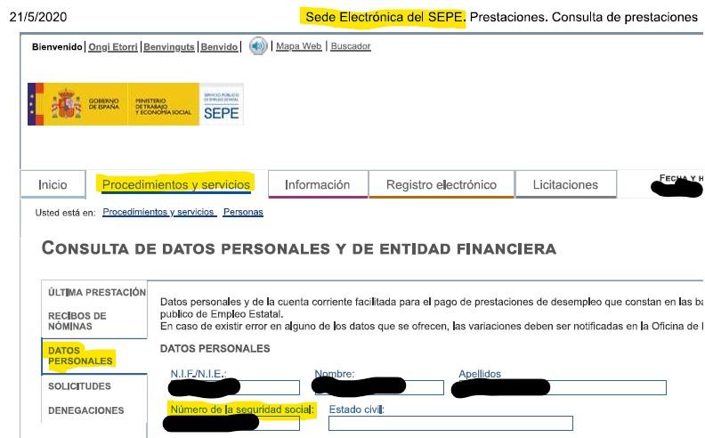"""Número de seguridad social dentro de """"datos personales"""" en la sede electrónica."""
