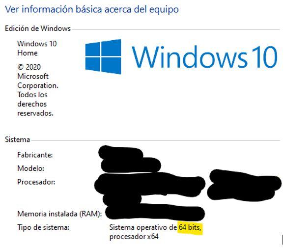 Ventana con las propiedades de tu versión de Windows.