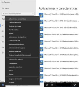 """Opción """"aplicaciones y características"""", y lista de drivers instalados en tu PC."""