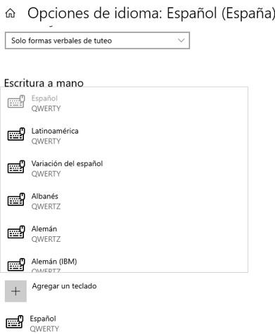 """Lista de distribuciones de teclado al presionar """"agregar un teclado""""."""