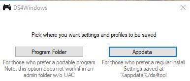 """Botón """"Appdata"""" de la ventana de instalación del DS4."""