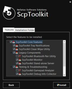Lista de características a instalar para ScpToolkit.