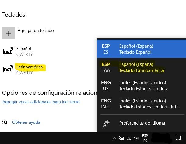 La barra de tareas ahora muestra la nueva distribución del teclado.