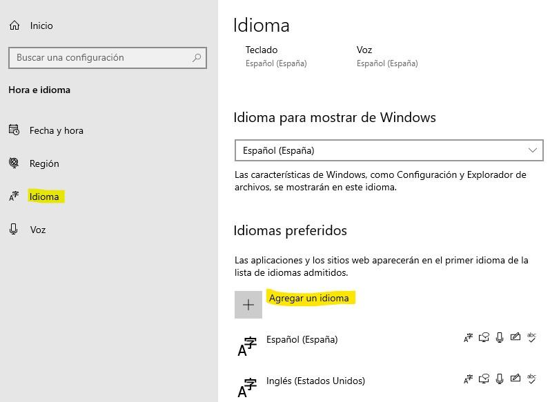 """Opción """"agregar un idioma"""" en la configuración de idioma de Windows."""