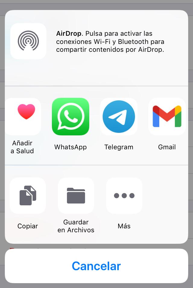 Menú para seleccionar la aplicación por donde te quieres mandar la copia de seguridad.