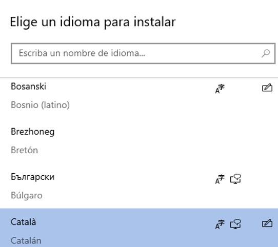 Menú de idiomas para instalar en tu teclado.