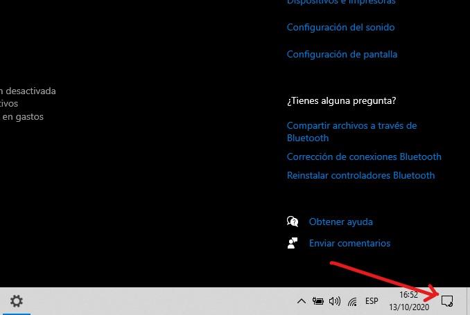 Activar el Bluetooth en Windows 10 desde el Centro de Actividades