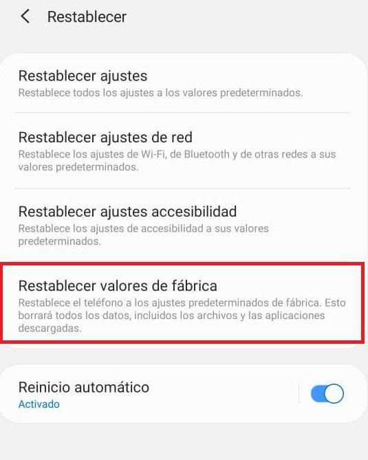 restablecer valores de fabrica de samsung desde ajustes del smartphone