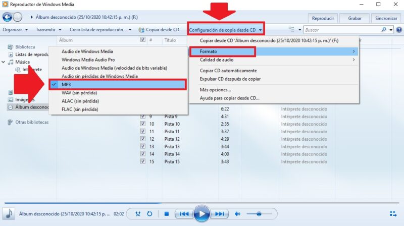 cambiar formato de cda a mp3 windows media windows 10
