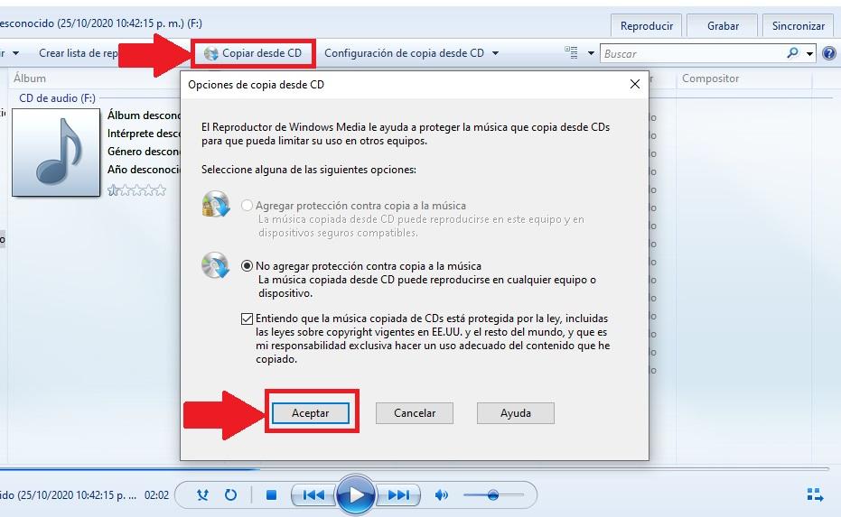 copiar desde cd a formato mp3 desde windows media windows 10