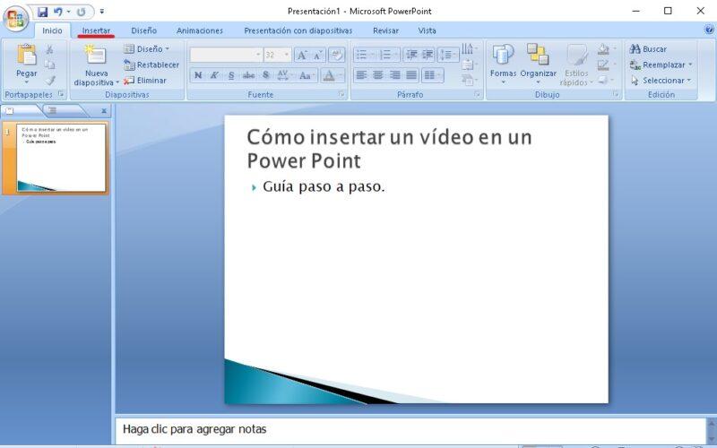 como insertar un video en una presentacion de power point