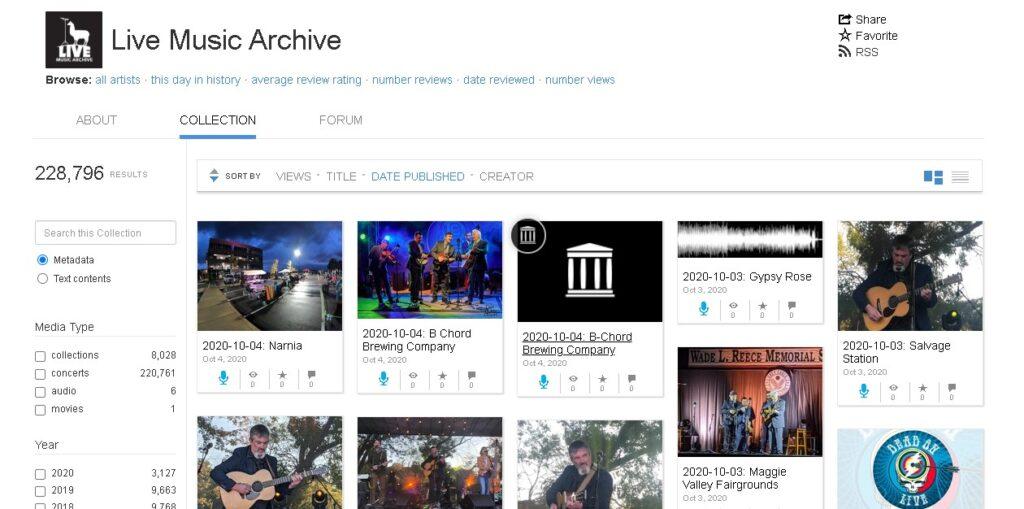 Live Music Archive, descargar musica gratis