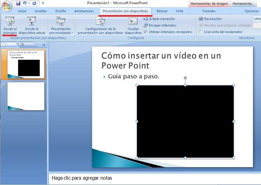 Presentacion con videos insertados en las diapositivas
