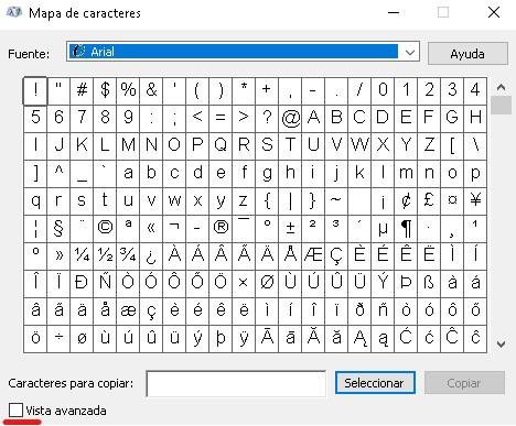mapa de caracteres para insertar simbolos