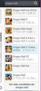 "Buscador de Anime ID mostrando resultados cuando escribes ""Dragon Ball""."