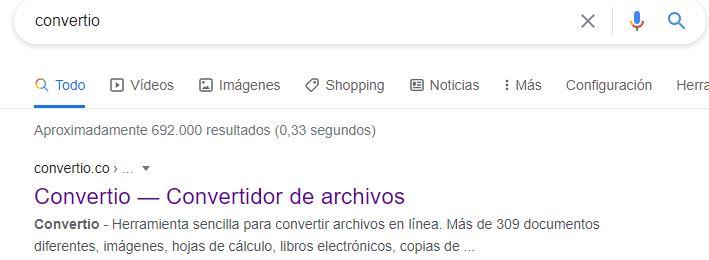 Sitio web de Convertio en Google.