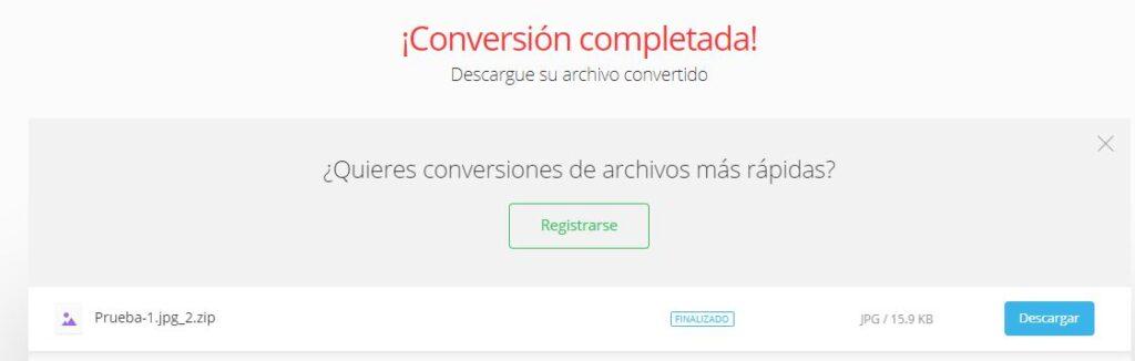 """Documento de Word convertido en un archivo Zip y el botón """"Descargar"""" de Convertio."""