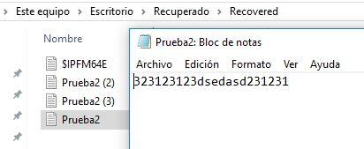 Archivo de texto recuperado por el DiskDigger.