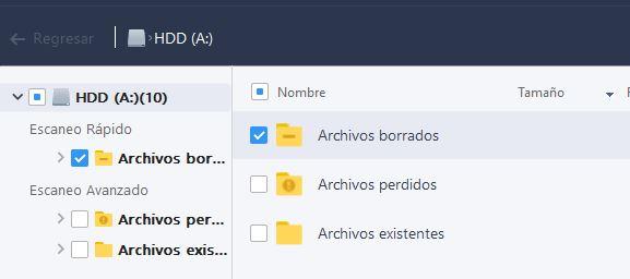 """Casillas marcadas de la carpeta """"Escaneo Rápido"""" y de la subcarpeta """"Archivos borrados""""."""