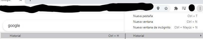 """Opción """"historial"""" dentro del menú con el icono de los tres puntos en Chrome."""