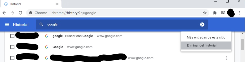 """Ventana del historial con el menú del icono de los tres puntos mostrando la opción """"Eliminar del historial"""" al lado de una página web."""