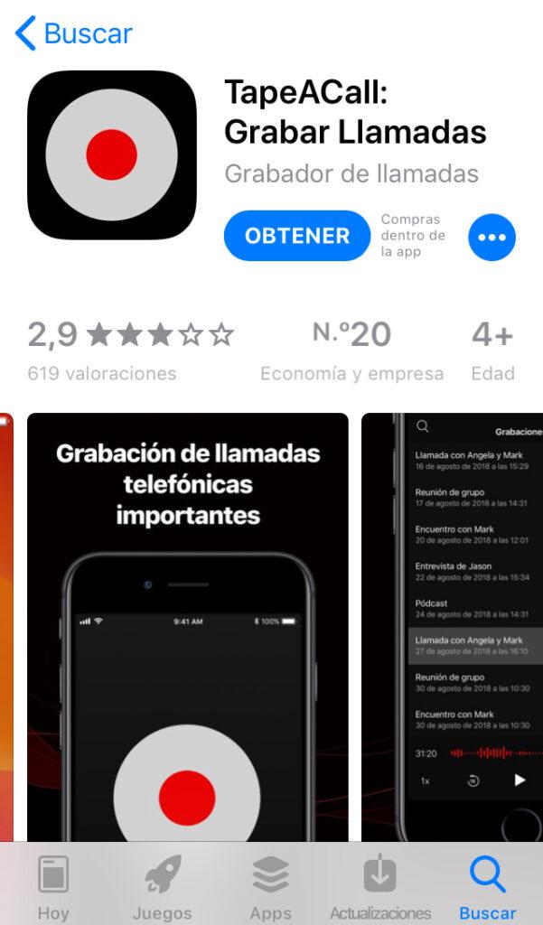 """App """"TapeACall"""" en la tienda de apps del iPhone."""