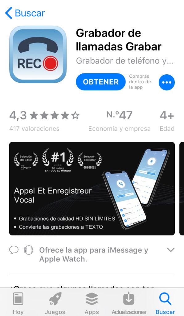 """Aplicación """"Grabador de llamadas Grabar"""" en la App Store."""
