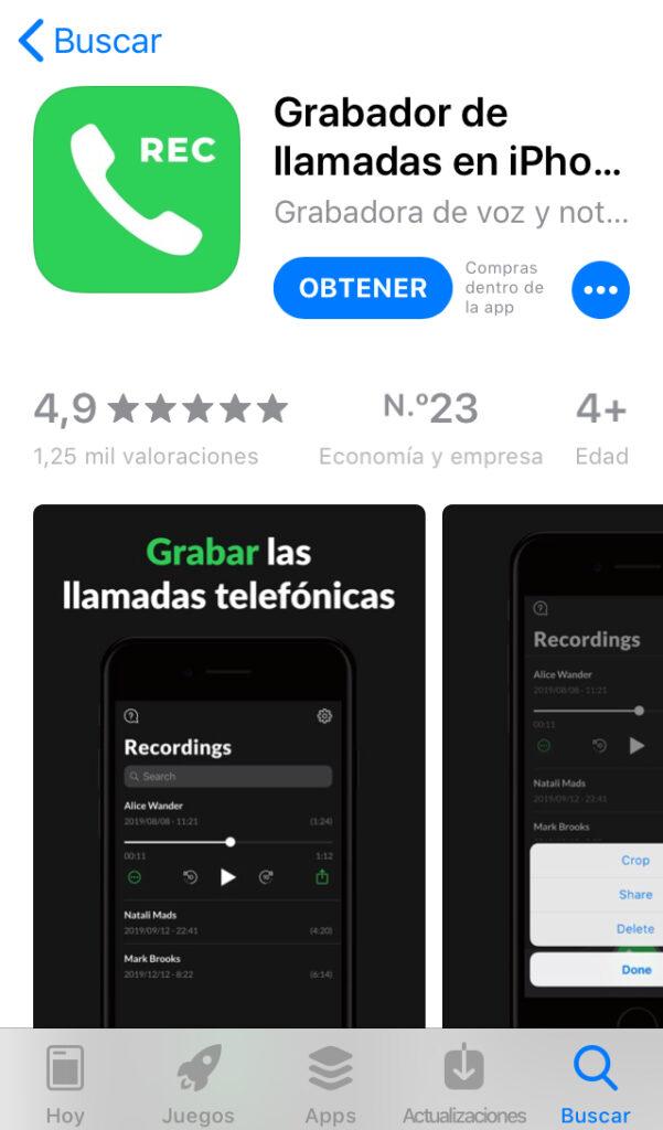 """App """"Grabador de llamadas en iPhone"""" en la tienda de apps para iOS."""