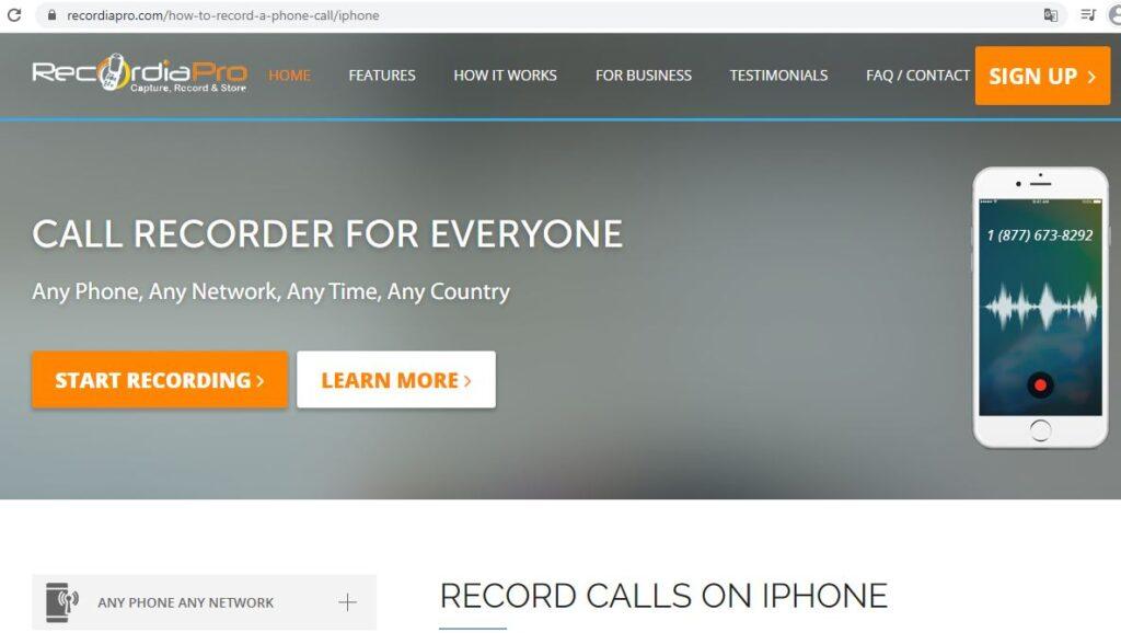 Landing page del sitio web de Recordia Pro.