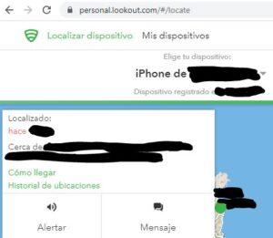 Ubicación de tu móvil en el mapa en el sitio web de Lookout.