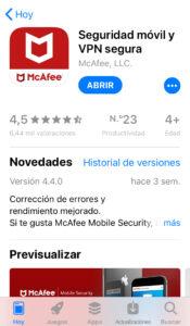 App de McAfee en la App Store.