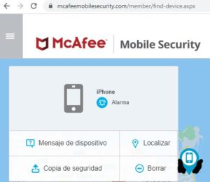 Ubicación de tu móvil en el mapa desde el sitio web de McAfee.