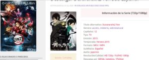 Información de descarga de una serie de anime en NekoAnimeDD.