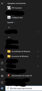 """Programa """"PDF Converter"""" en el menú de Inicio de Windows."""