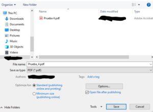 Guardando el archivo de Word como un archivo PDF.