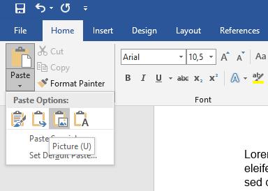 """Opción """"Picture (U)"""" del menú """"Paste"""" del icono del portapapeles en la esquina superior izquierda del Word."""