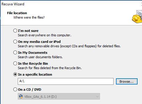 Ventana del Recuva para seleccionar el disco duro a escanear.