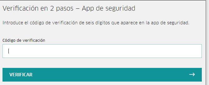 Casilla para insertar tu código de verificación de dos pasos de Uber.