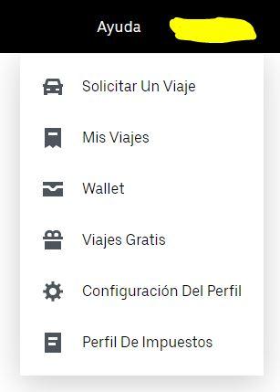 """Menú desplegable de la página de tu cuenta de Uber, con las opciones """"Mis Viajes"""" y """"Perfil De Impuestos""""."""
