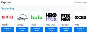 """Opción """"Netflix"""" de la lista de servicios que aparecen después de hacer clic en """"Explore All""""."""