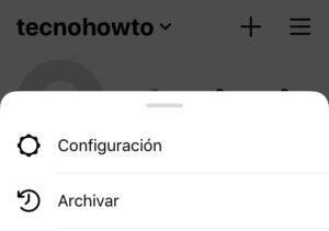 """Menú de hamburguesa de tu perfil de Instagram con la opción """"Configuración""""."""