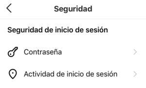 """Opción """"Actividad de inicio de sesión"""" del menú de la opción """"Seguridad""""."""