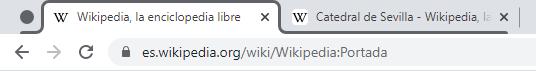 Círculo gris al lado de la pestaña original de Wikipedia, y línea gris que rodea el contorno de dicha pestaña.