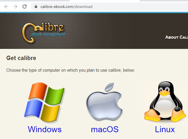 Página para descargar el Calibre desde su sitio web.