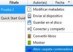 """Menú que aparece al hacer clic derecho en tu archivo PDF en Calibre, con la opción """"Abrir carpeta contenedora""""."""