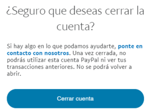 """Ventana con el botón """"Cerrar cuenta"""" que aparece al clicar en el enlace """"Cerrar cuenta""""."""