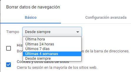 """Menú desplegable del apartado """"Tiempo"""", con las opciones """"Desde siempre"""", """"Última hora"""", """"Últimas 24 horas"""", """"Últimos 7 días"""", y """"Últimas 4 semanas""""."""