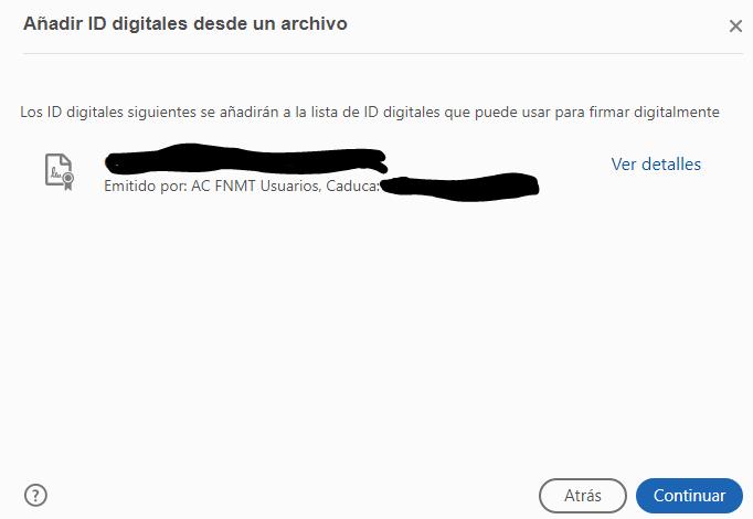 Ventana que confirma el nombre del usuario del certificado digital seleccionado para importarlo al Acrobat Reader.