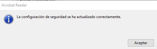 """Ventana con el mensaje """"La configuración de seguridad se ha actualizado correctamente""""."""